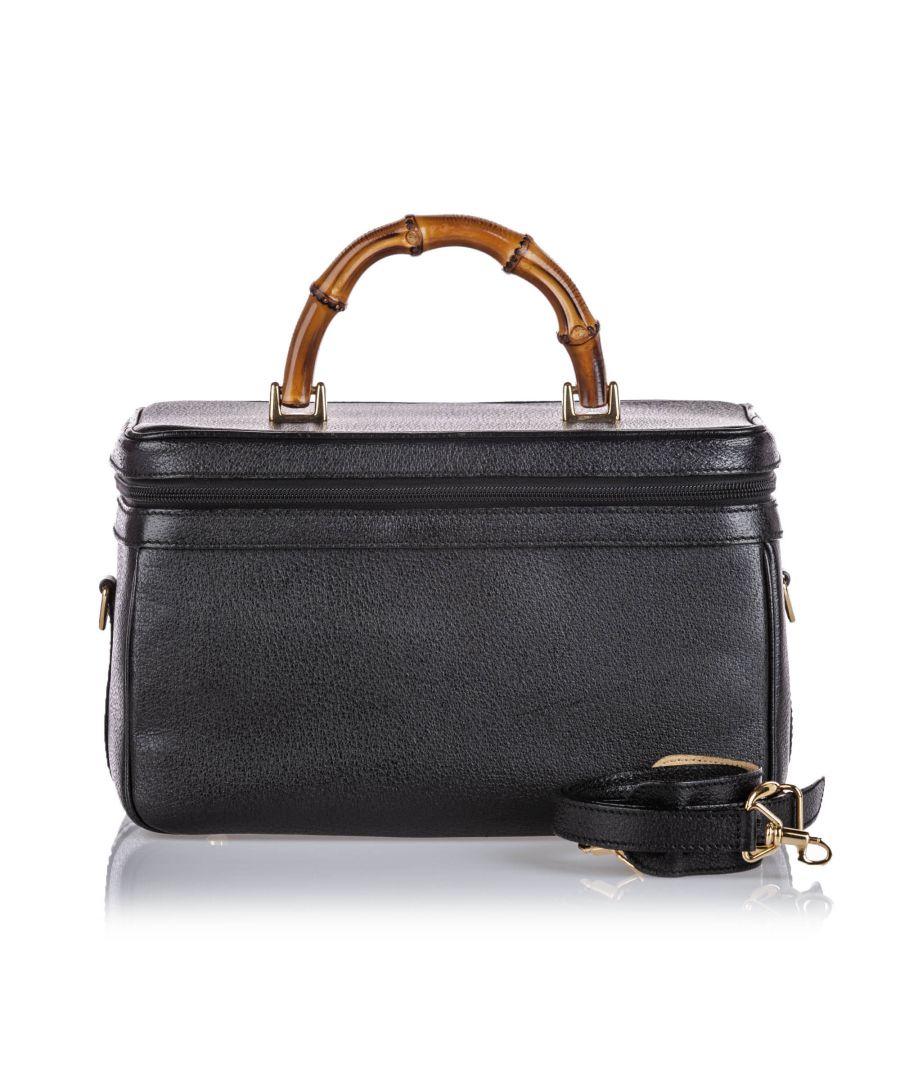 Image for Vintage Gucci Bamboo Leather Vanity Bag Black