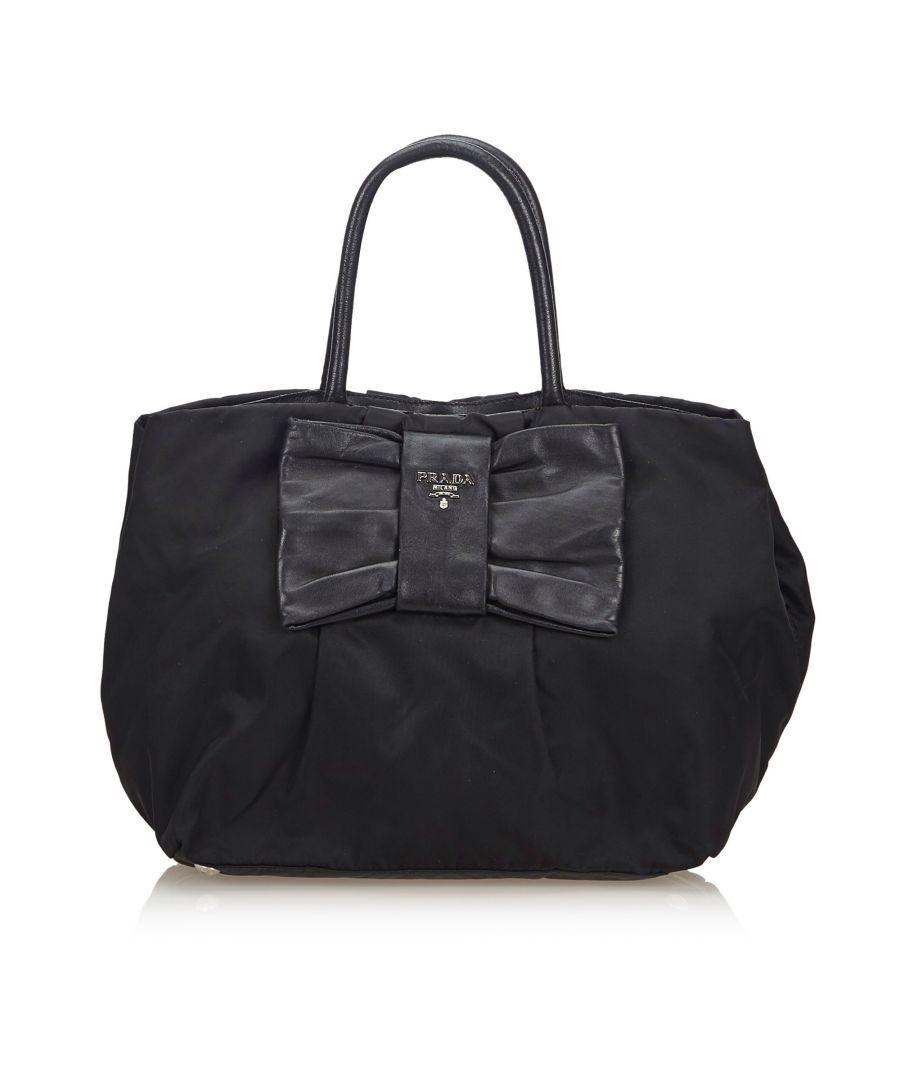 Image for Vintage Prada Nylon Fiocco Bow Handbag Black