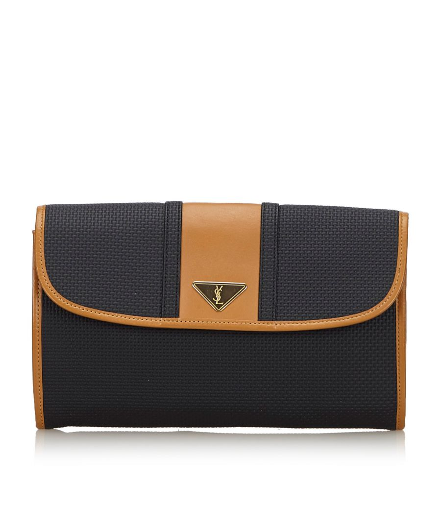 Image for Vintage YSL Woven Flap Clutch Bag Black