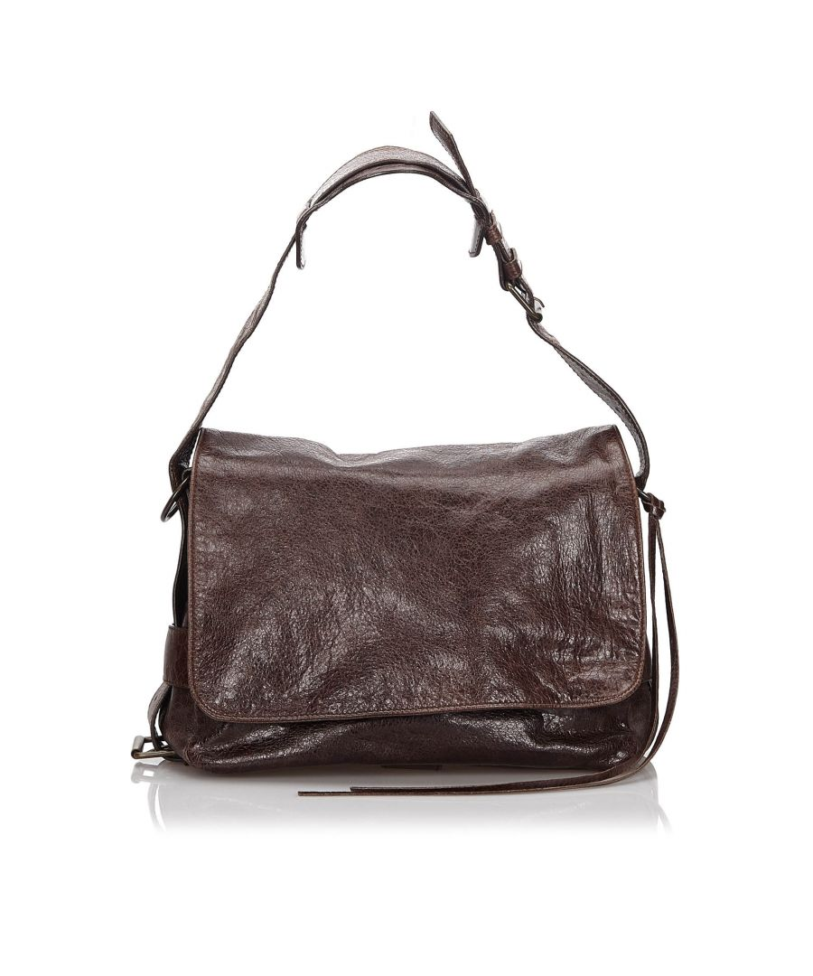 Image for Vintage Balenciaga Leather Flap Shoulder Bag Brown
