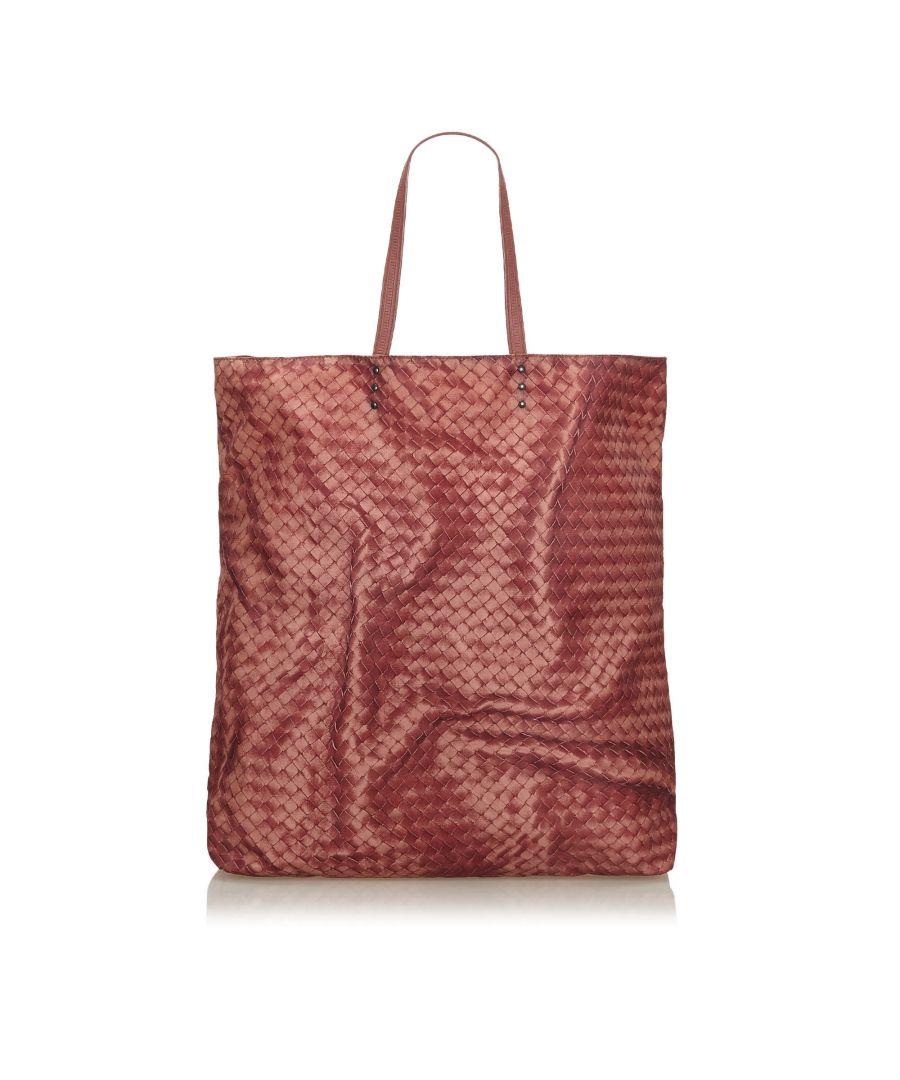 Image for Vintage Bottega Veneta Intrecciato Nylon Tote Bag Red