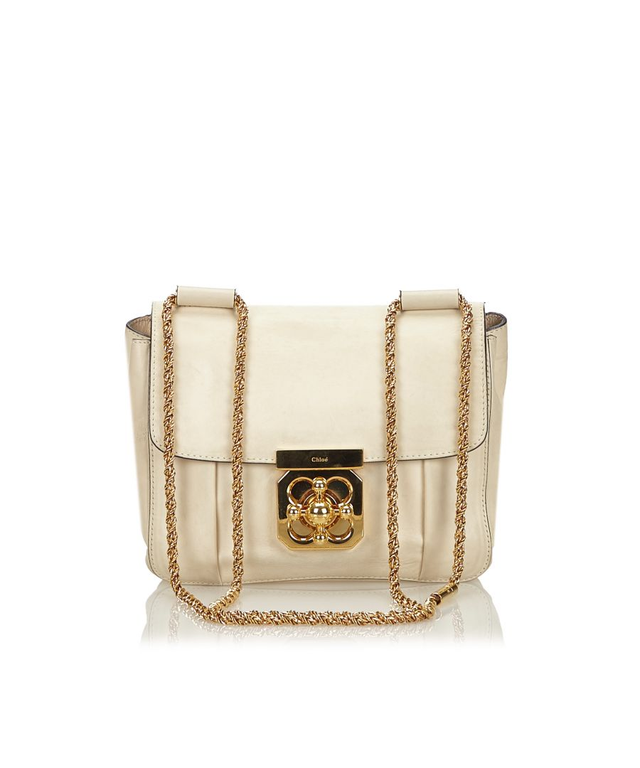Image for Vintage Chloe Leather Elsie Crossbody Bag White
