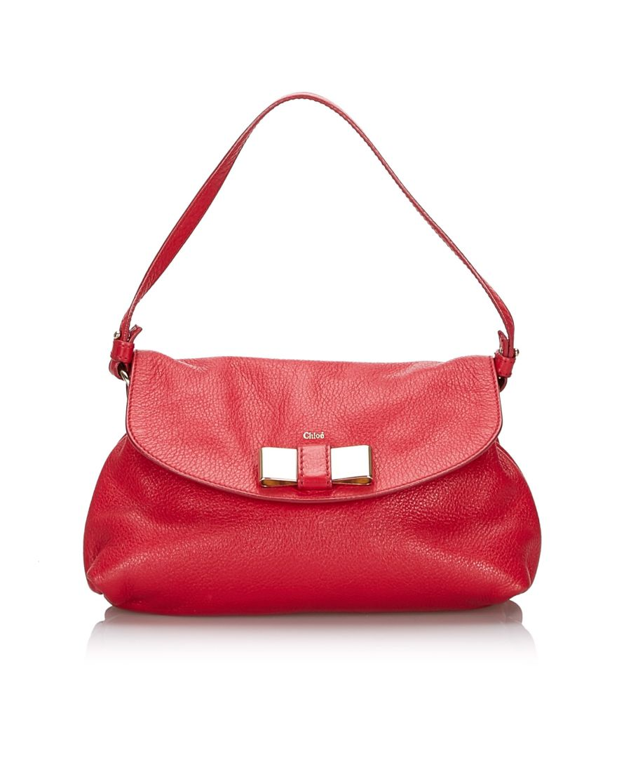 Image for Vintage Chloe Leather Lily Bow Crossbody Bag Red