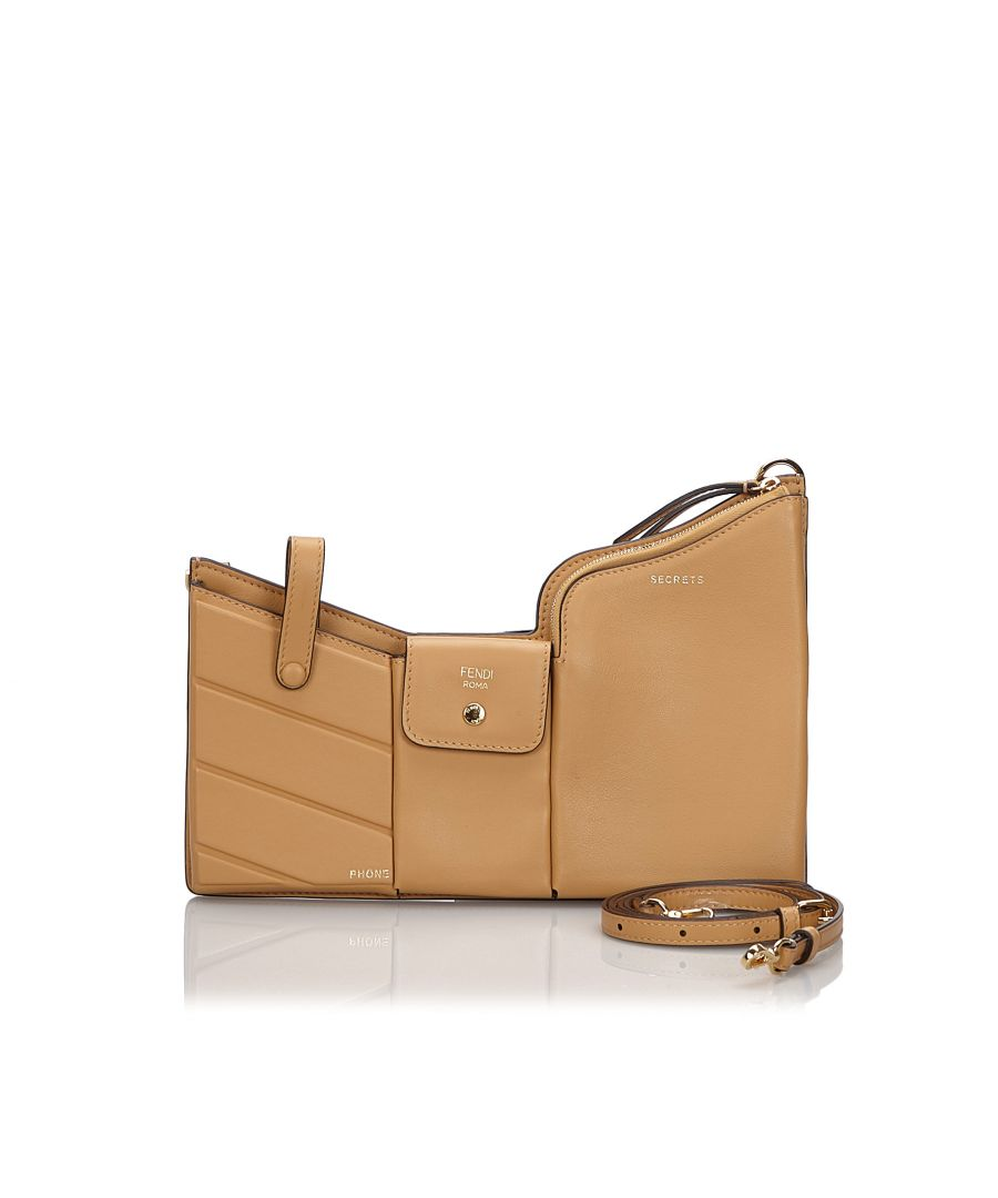 Image for Vintage Fendi Leather 3 Pockets Mini Crossbody Bag Brown