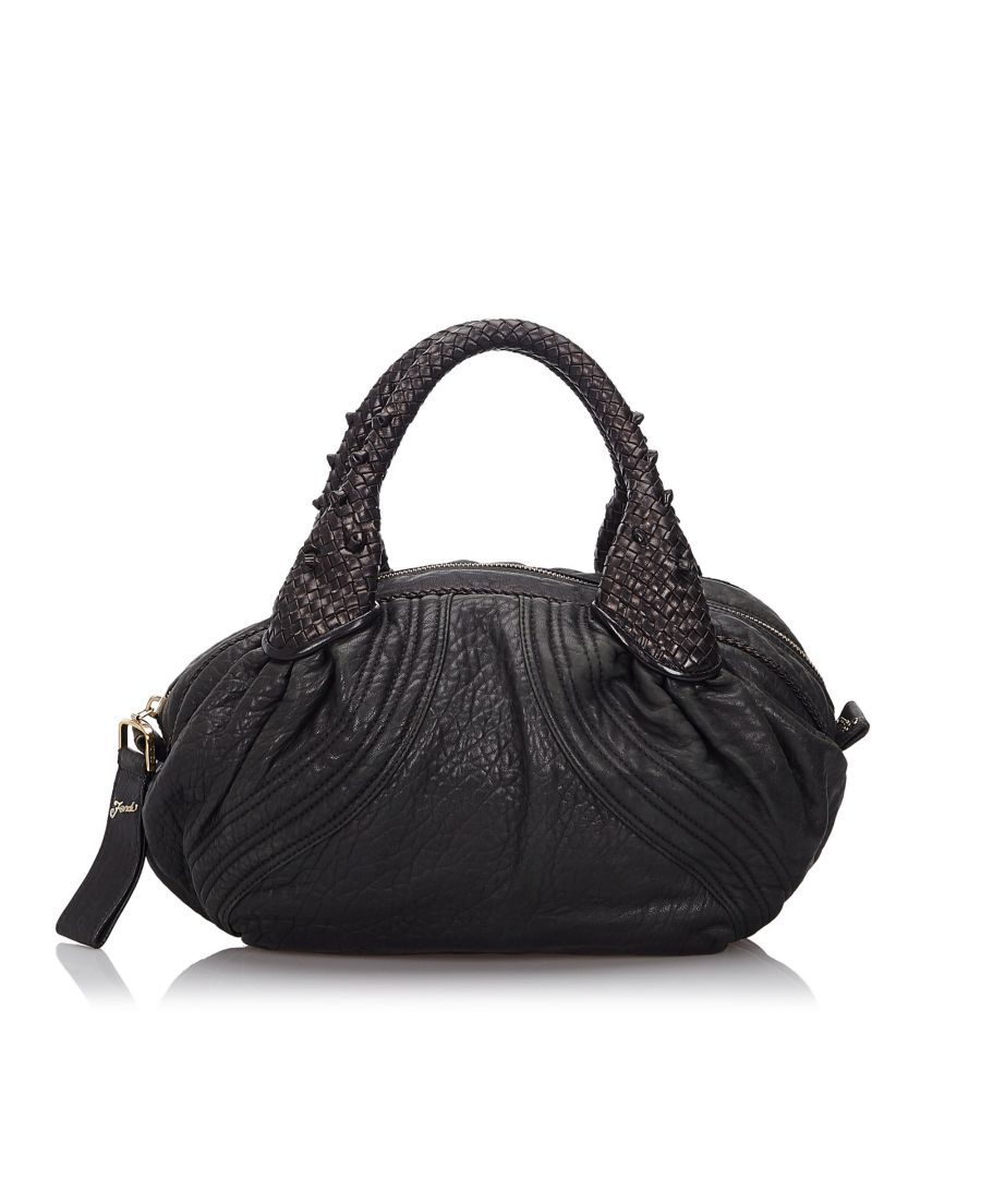 Image for Vintage Fendi Leather Mini Spy Hobo Bag Black