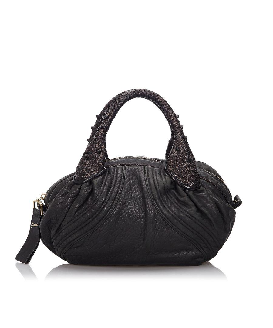 Image for Vintage Fendi Leather Mini Spy Hobo Bag Black