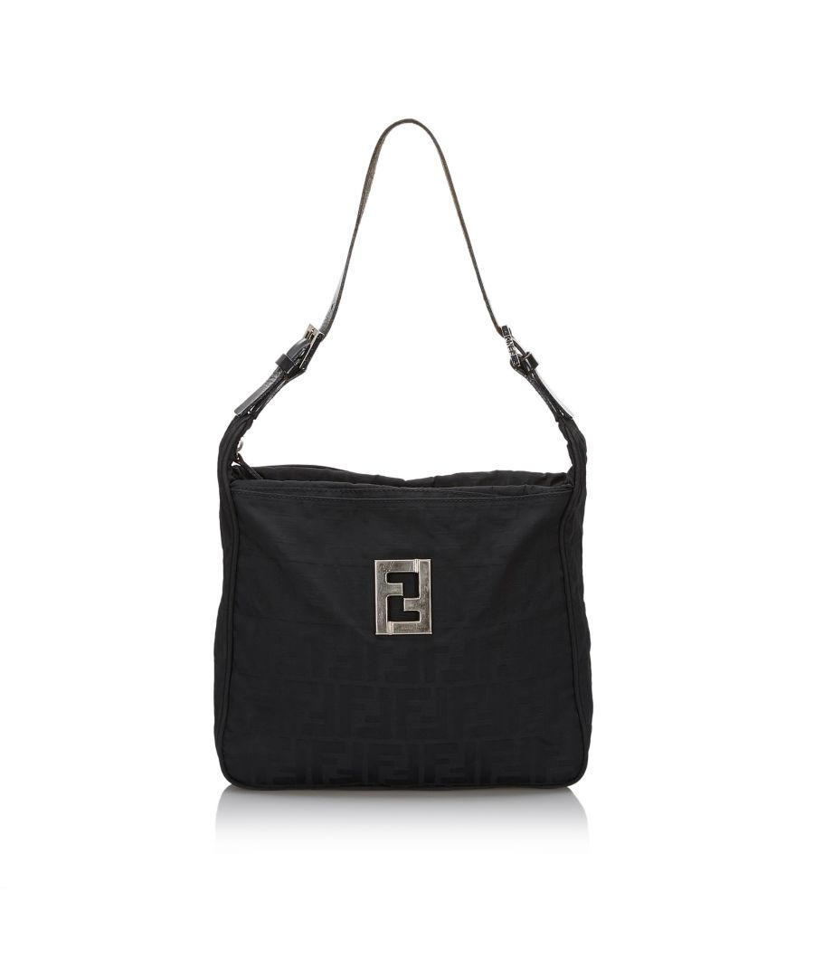 Image for Fendi Zucca Canvas Shoulder Bag Black