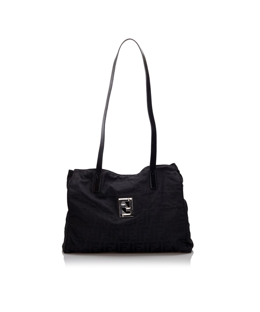 Image for Vintage Fendi Zucca Nylon Tote Bag Black