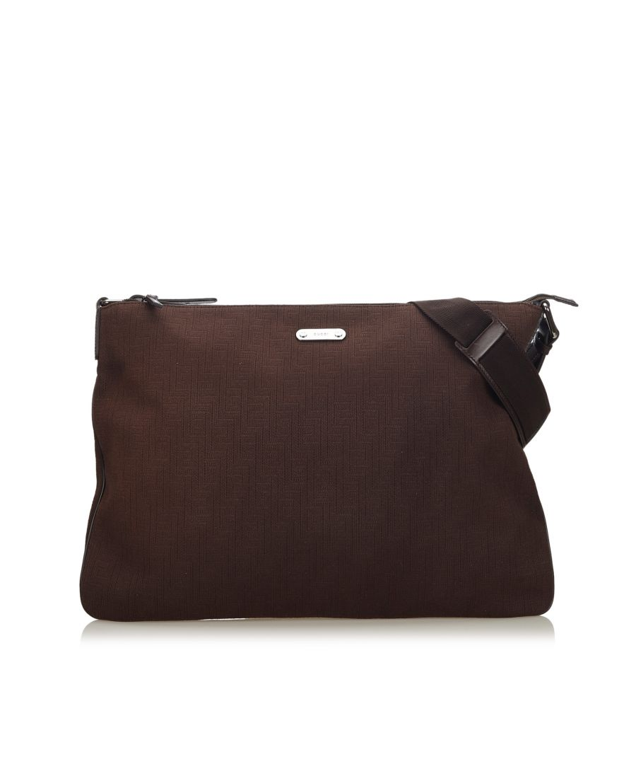 Image for Vintage Gucci Cotton Crossbody Bag Brown