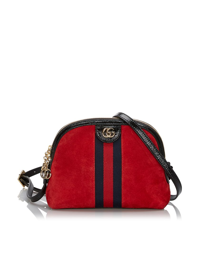 Image for Vintage Gucci Small Suede Ophidia Crossbody Bag Red