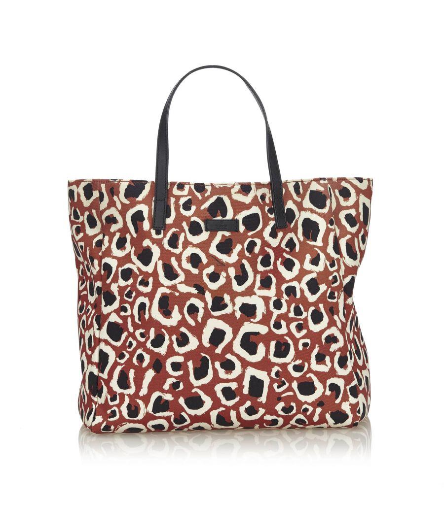 Image for Vintage Gucci Leopard Printed Nylon Tote Bag Brown