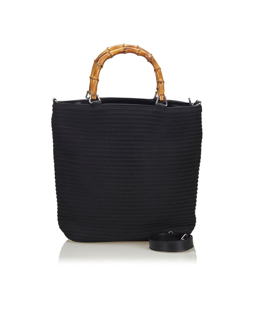 Image for Vintage Gucci Bamboo Nylon Satchel Black