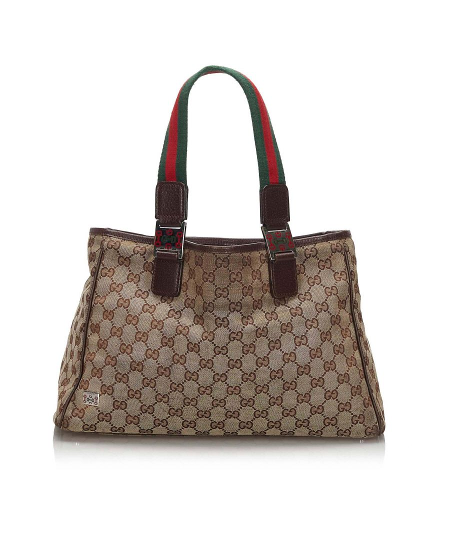 Image for Gucci GG Web Canvas Tote Brown