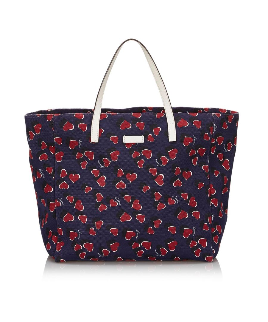 Image for Vintage Gucci Printed Canvas Tote Bag Blue