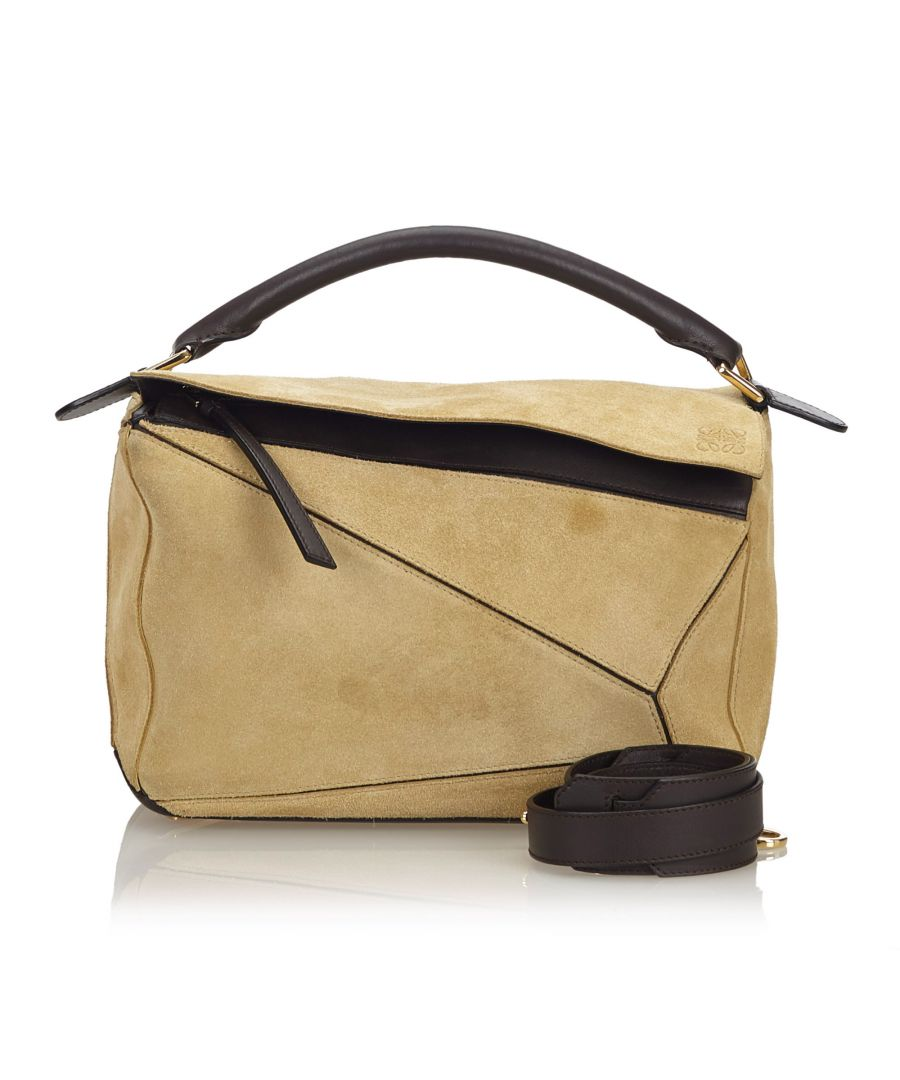 Image for Loewe Suede Medium Puzzle Satchel Brown