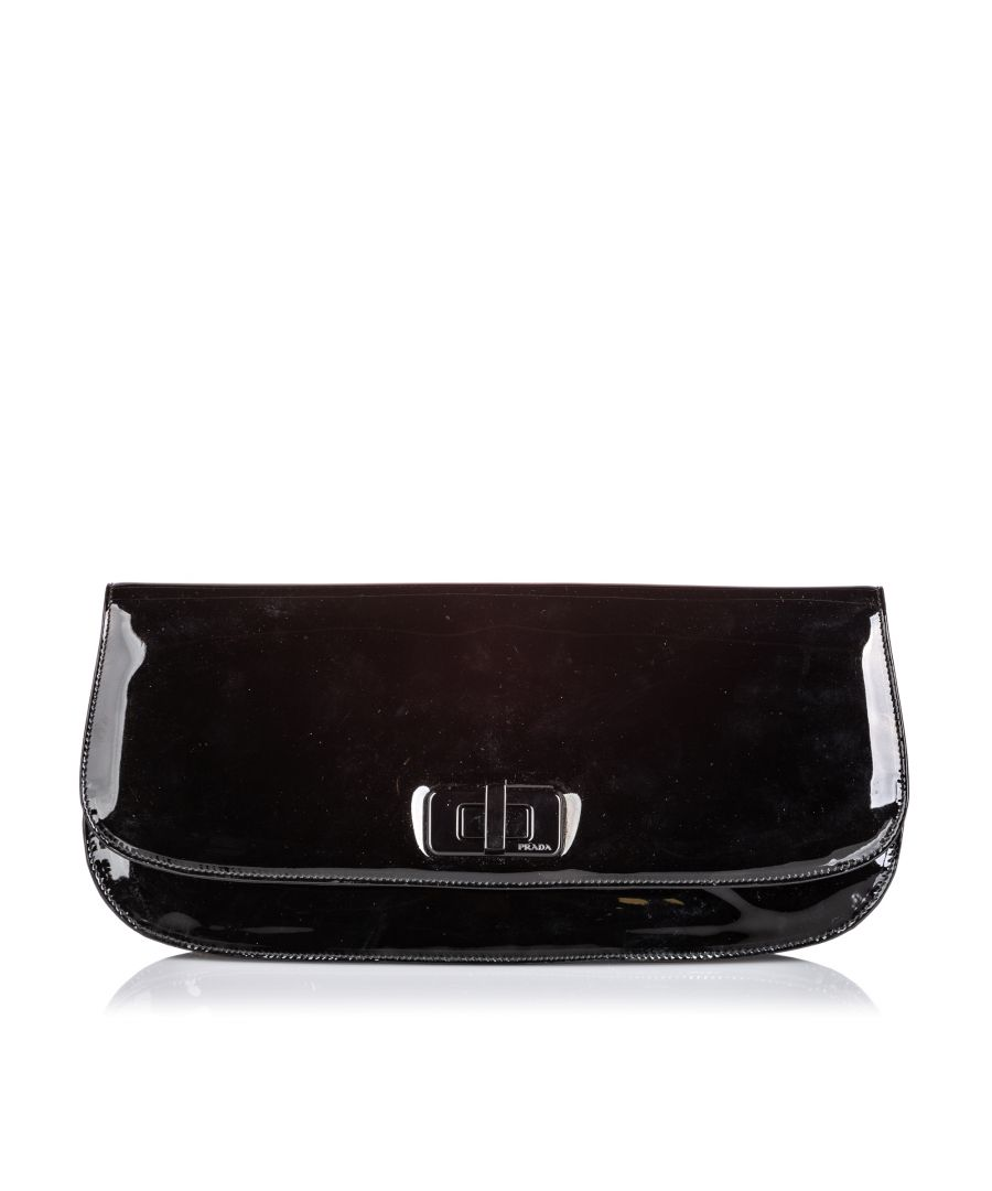 Image for Prada Patent Leather Clutch Bag Black
