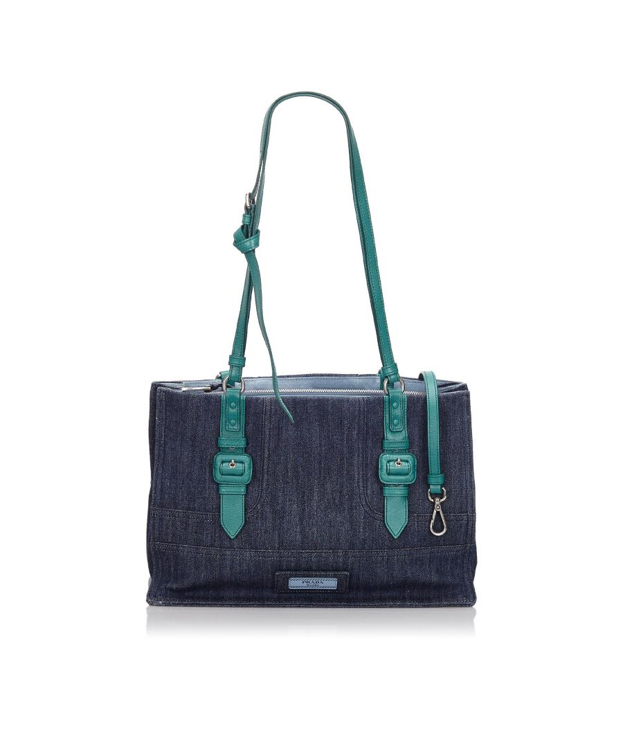 Image for Prada Denim Etiquette Satchel Blue