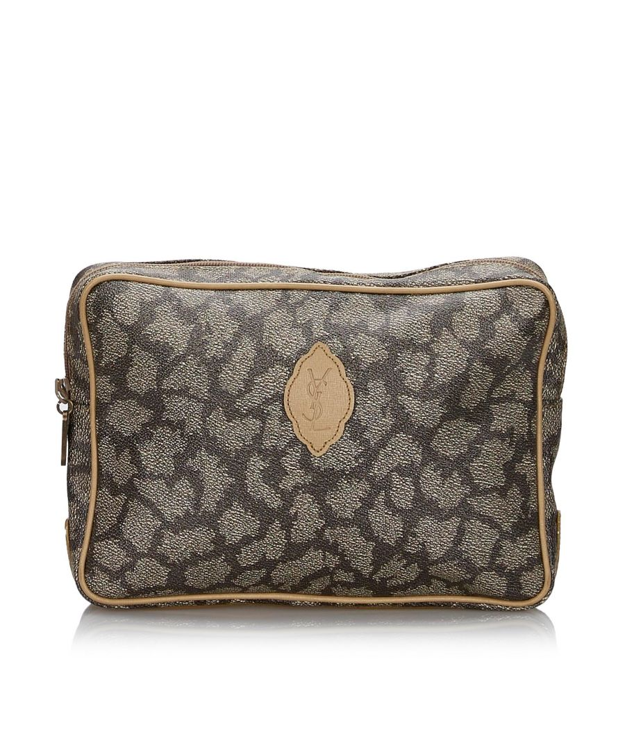 Image for Vintage YSL Printed Clutch Bag Gray