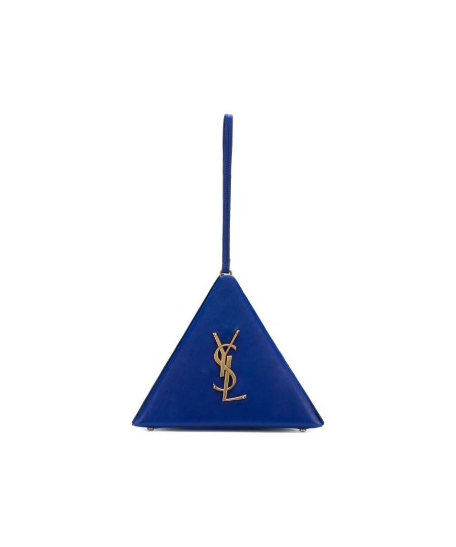 Image for Vintage YSL Leather Pyramid Clutch Bag Blue