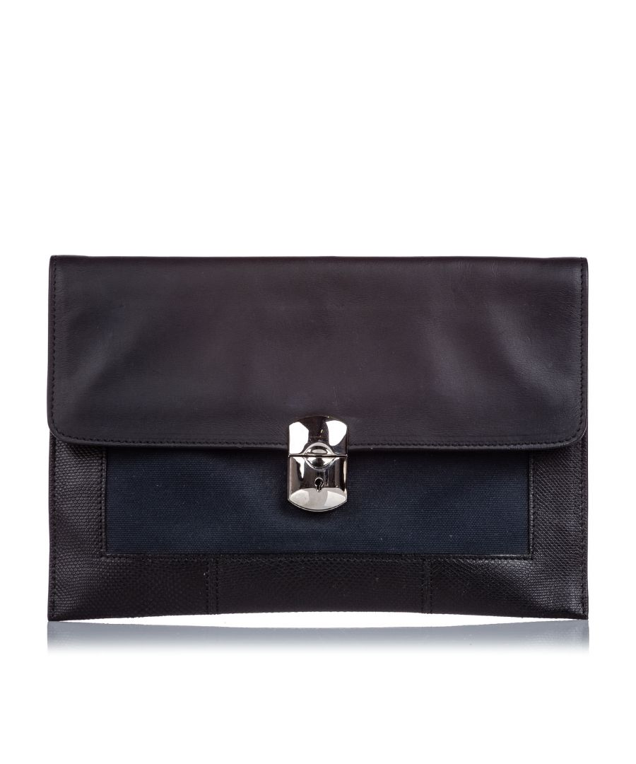 Image for Vintage Balenciaga Leather Clutch Bag Black