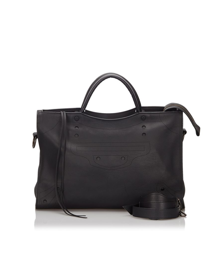 Image for Vintage Balenciaga Blackout City Satchel Black
