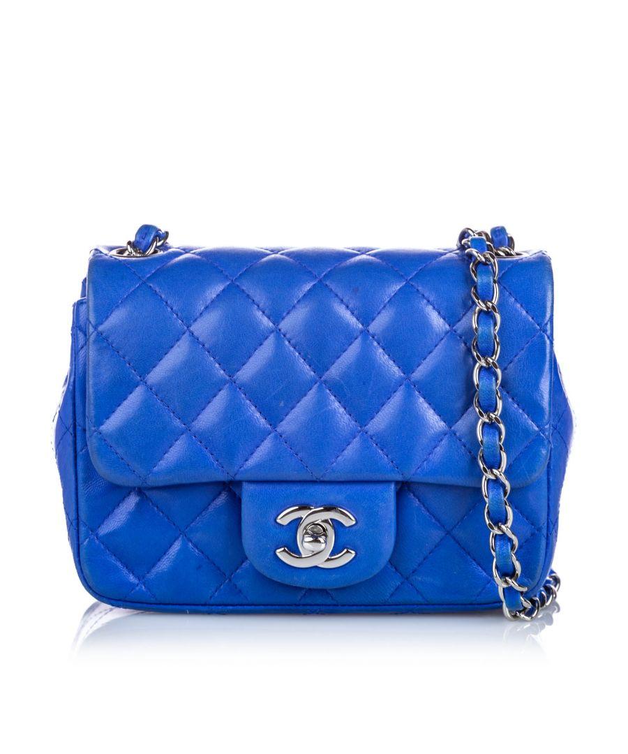 Image for Chanel Classic Mini Square Lambskin Leather Single Flap Bag Blue
