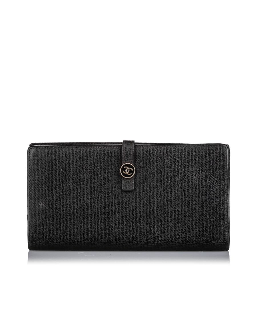 Image for Vintage Chanel Leather Long Wallet Black