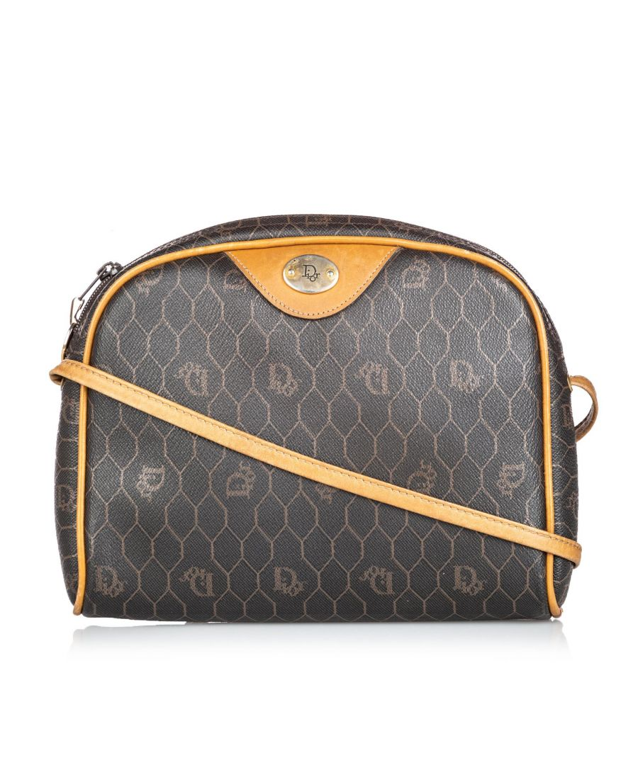 Image for Vintage Dior Honeycomb Coated Canvas Crossbody Bag Black
