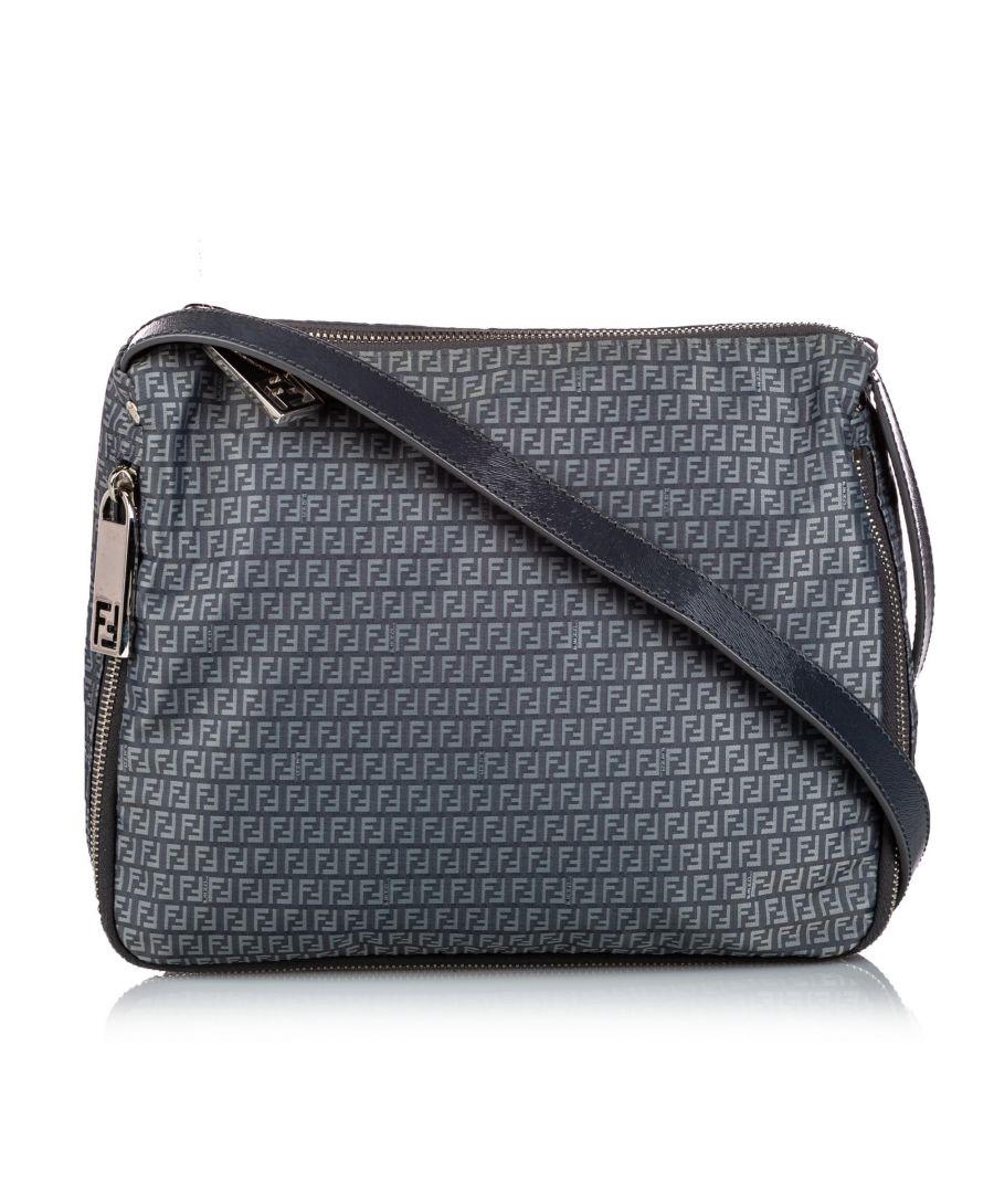 Image for Vintage Fendi Zucchino Nylon Crossbody Bag Gray