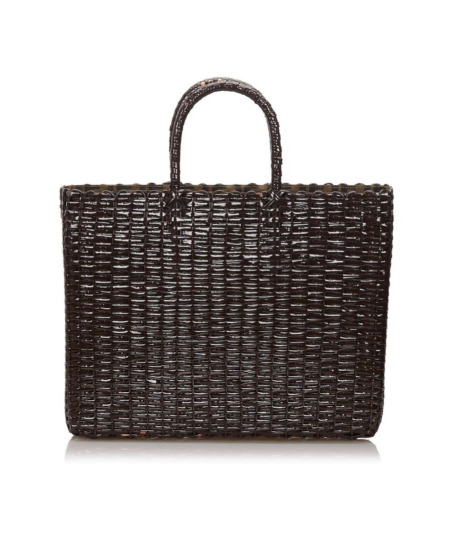 Image for Vintage Fendi Rattan Tote Bag Brown
