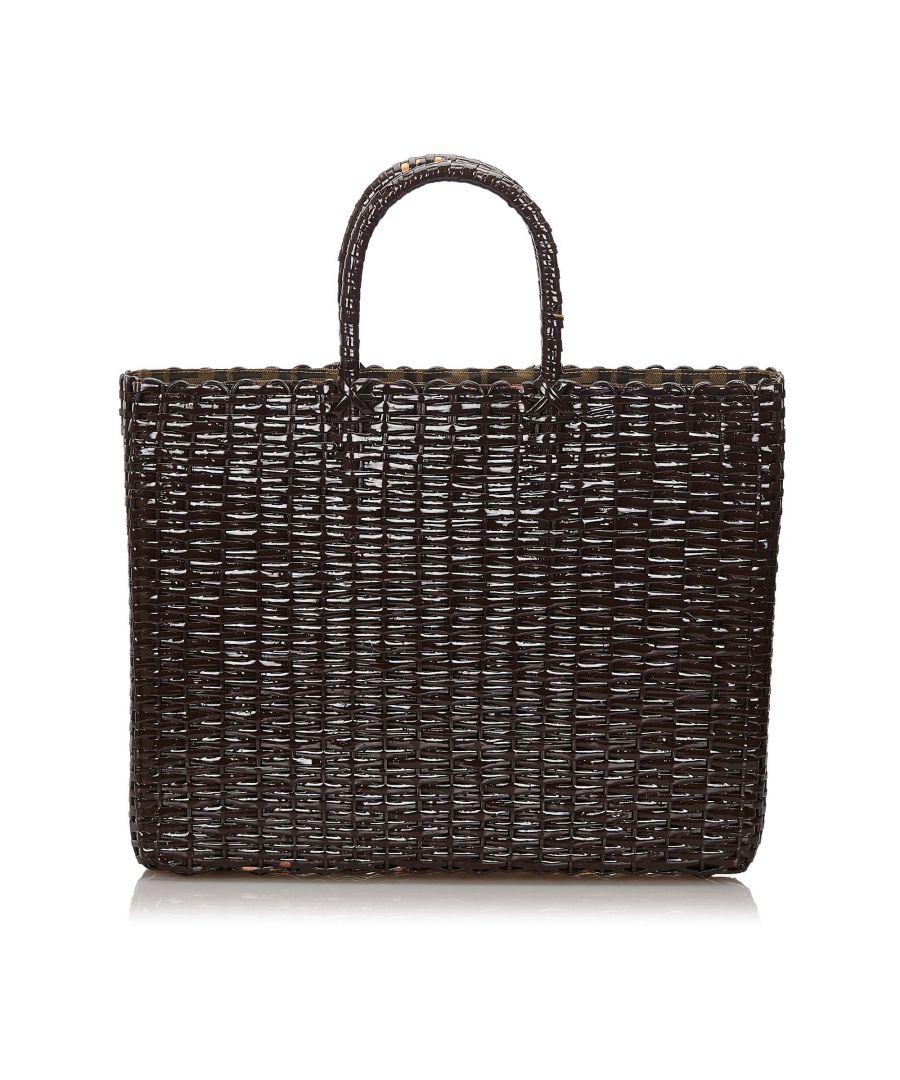 Image for Vintage Fendi Rattan Tote Bag Brown