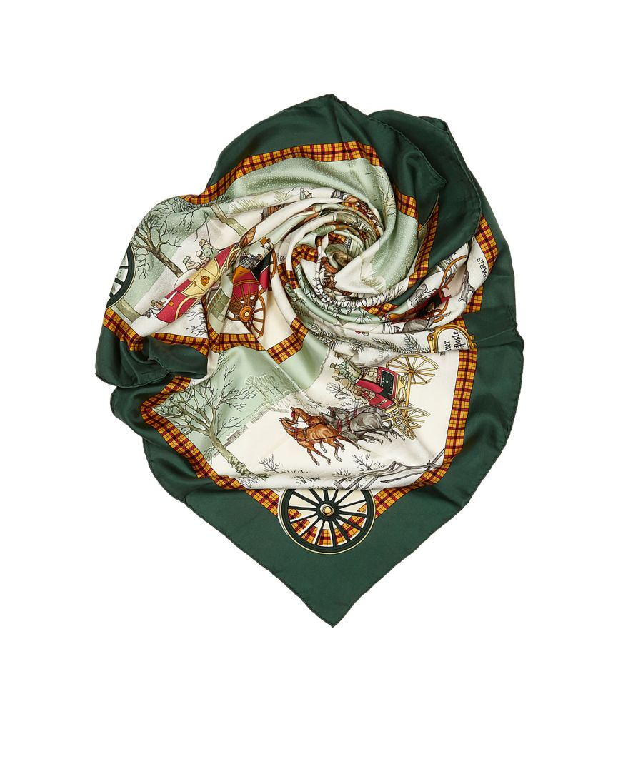 Image for Vintage Hermes Bull and Mouth Regents Circus Piccadilly Silk Scarf Green