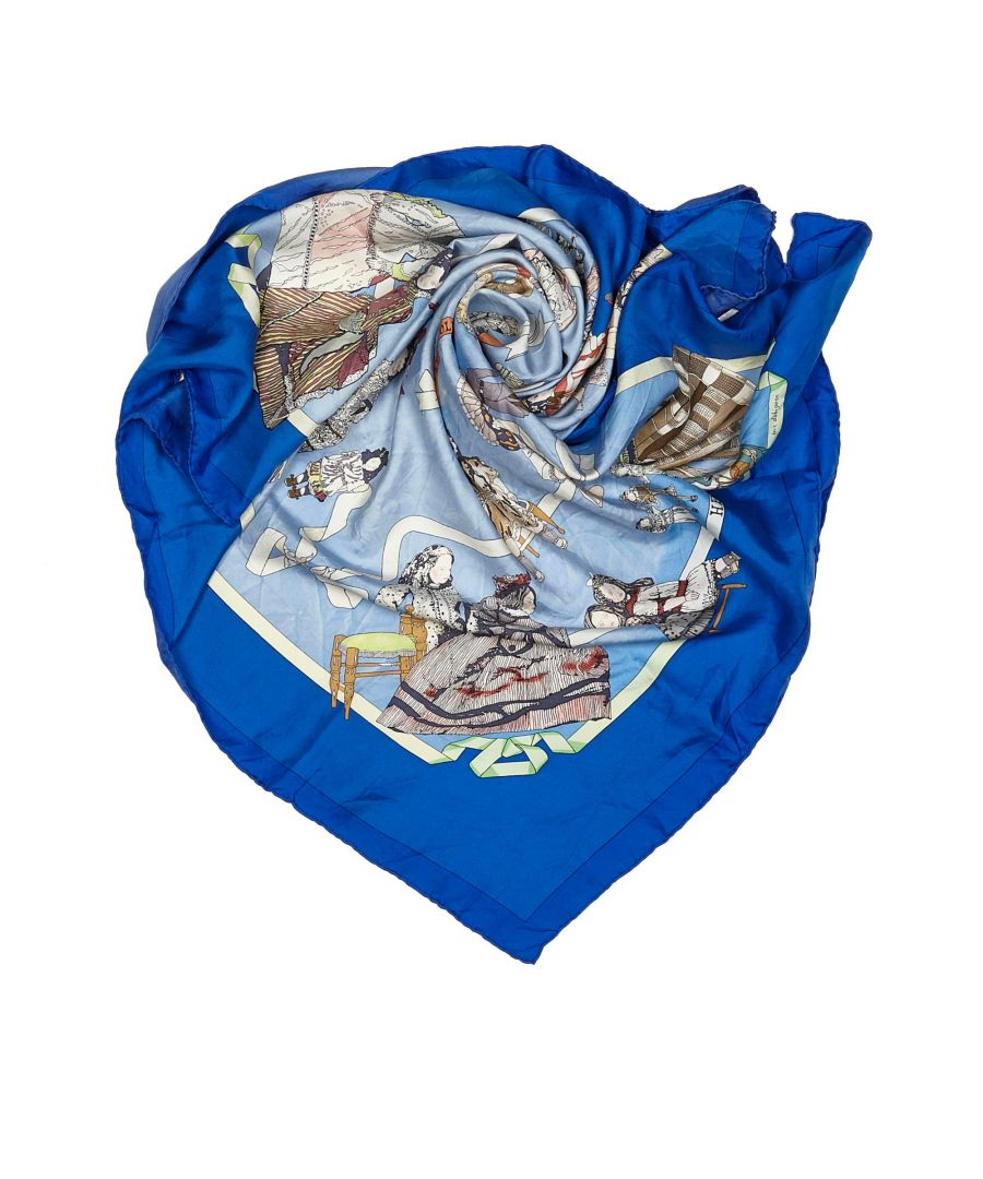 Image for Vintage Hermes Hello Dolly Silk Scarf Blue