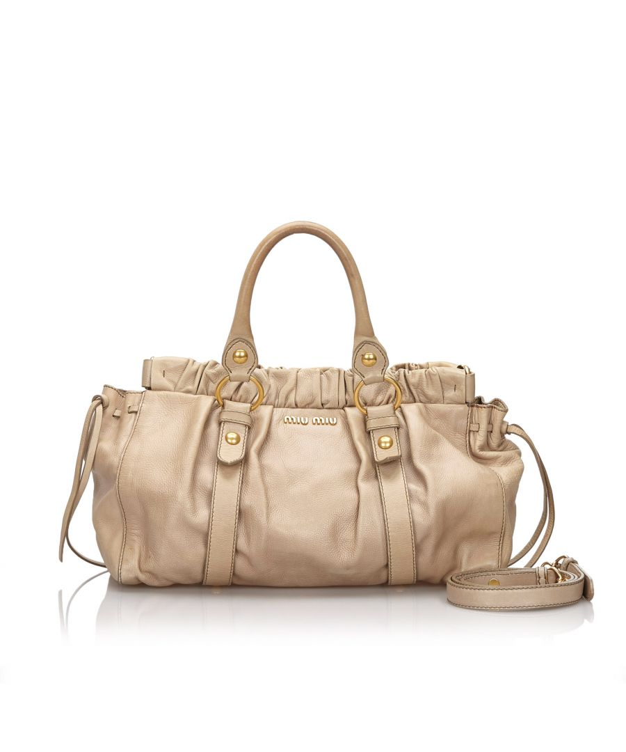 Image for Vintage Miu Miu Gathered Leather Satchel Brown