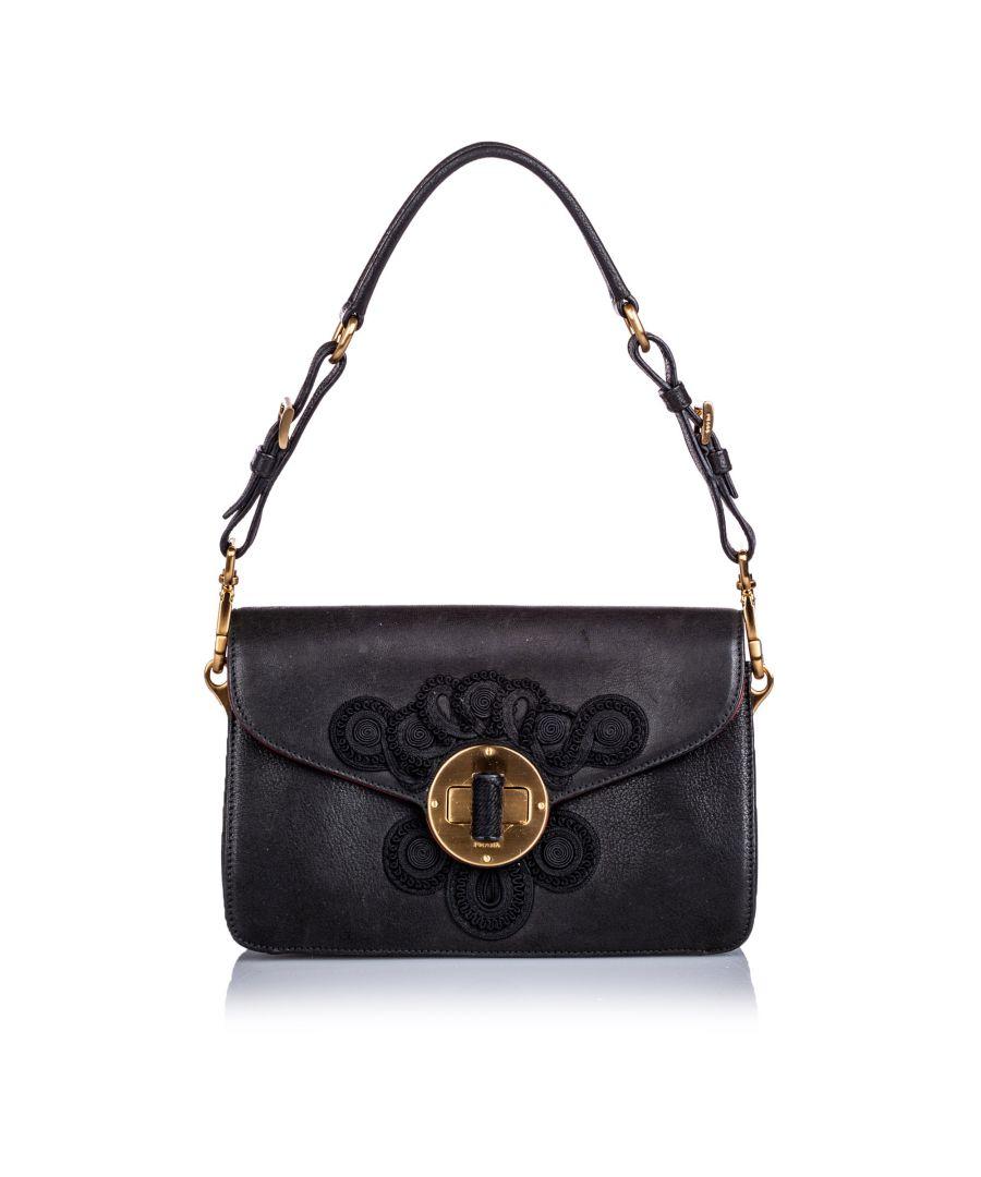 Image for Vintage Prada Embroidered Leather Shoulder Bag Black