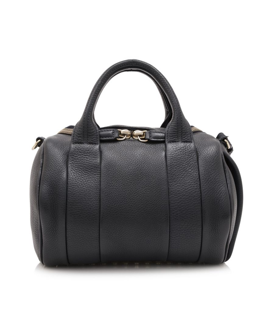 Image for Vintage Alexander Wang Calf Leather Rockie Boston Bag Black