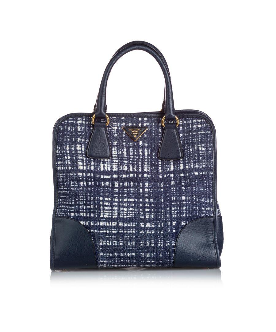 Image for Vintage Prada Tweed Satchel Blue