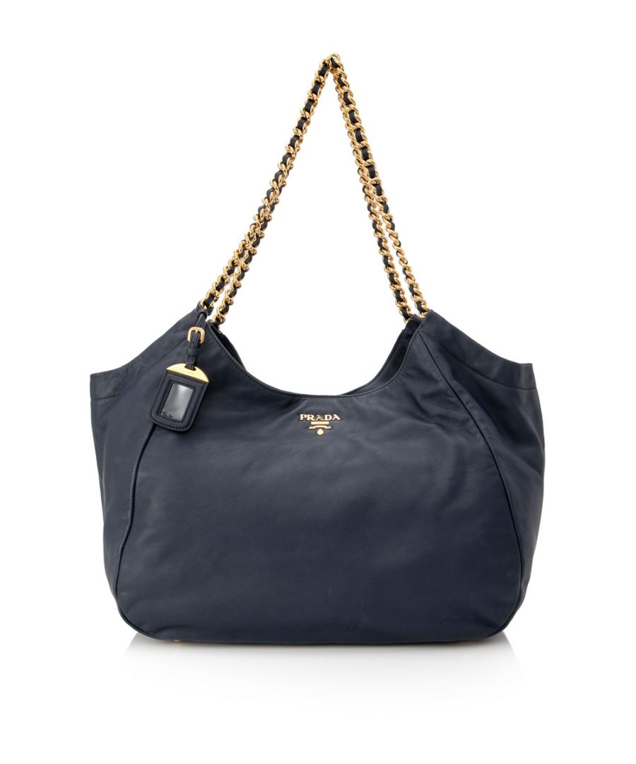 Image for Vintage Prada Leather Chain Tote Bag Blue