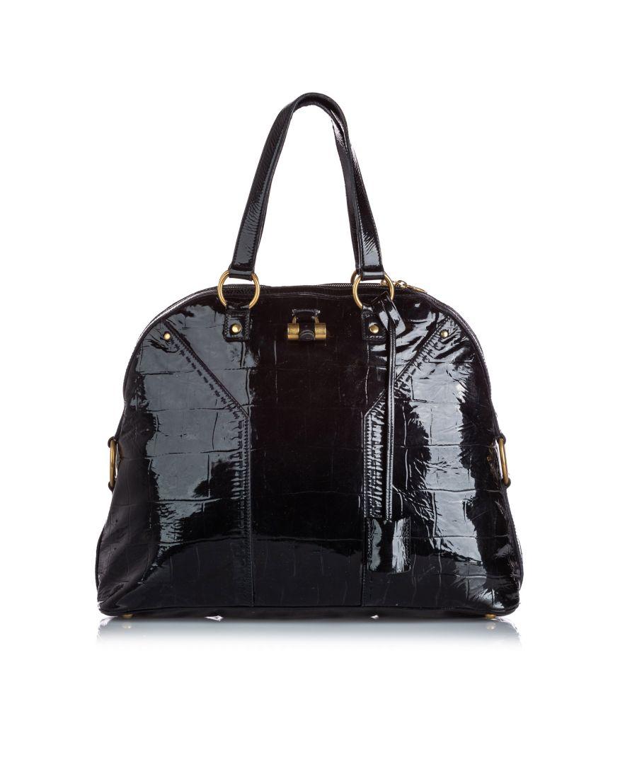 Image for Vintage YSL Patent Leather Muse Handbag Black