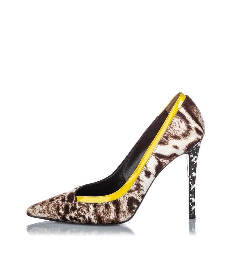 Image for Vintage Fendi Animal Print Pony Hair Heel White