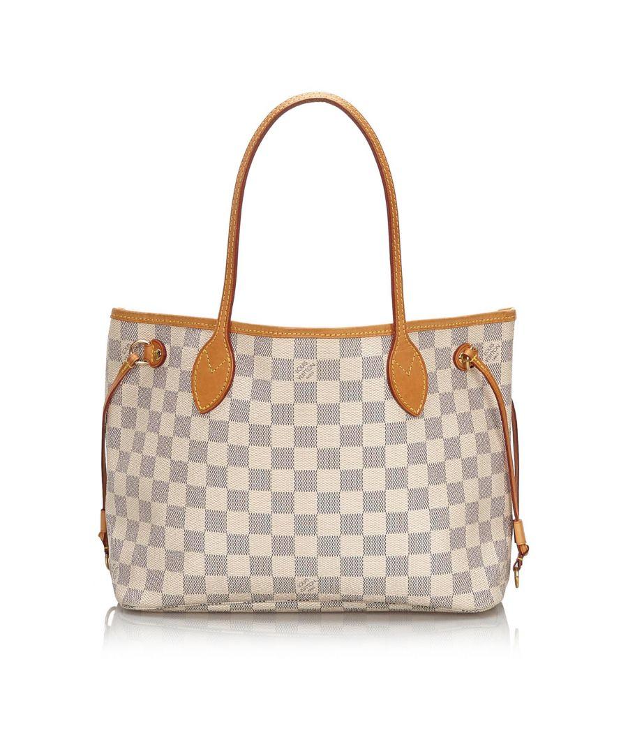 Image for Vintage Louis Vuitton Damier Azur Neverfull PM White