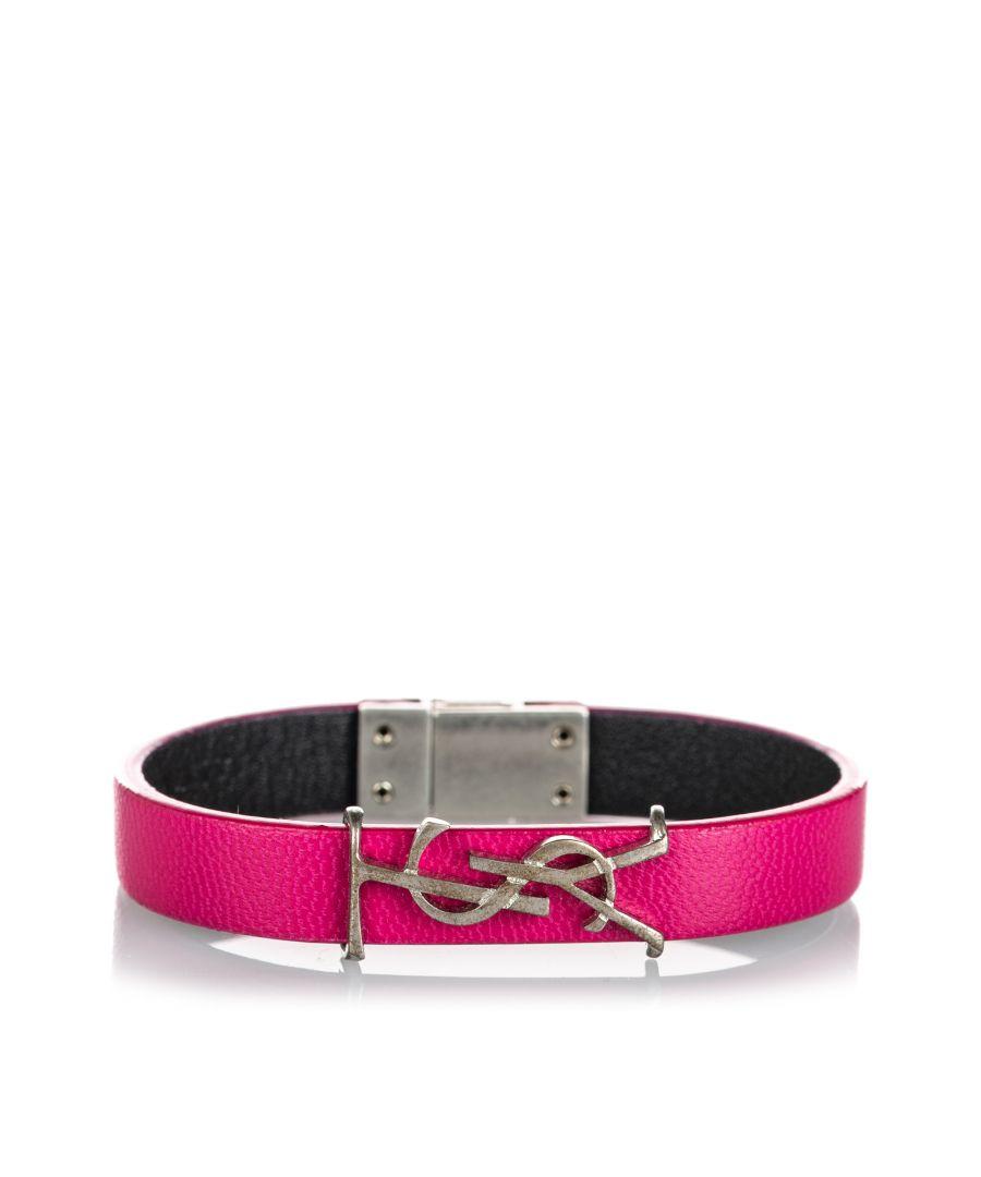 Image for Vintage YSL Leather Opyum Bracelet Pink