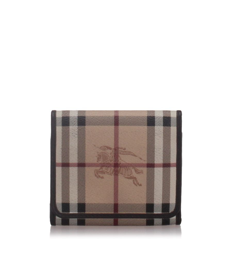 Image for Burberry House Check Coated Canvas Small Wallet Brown