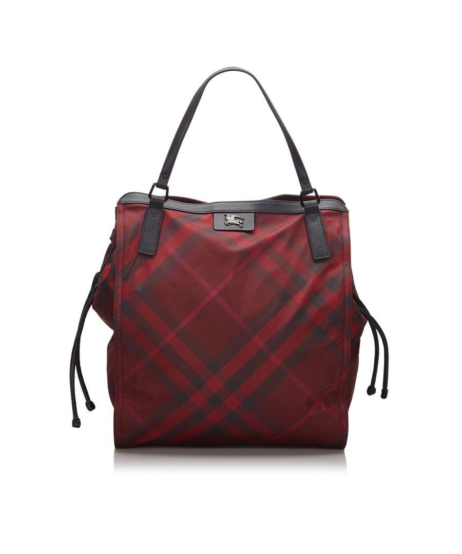 Image for Burberry Mega Check Nylon Buckleigh Tote Bag Red