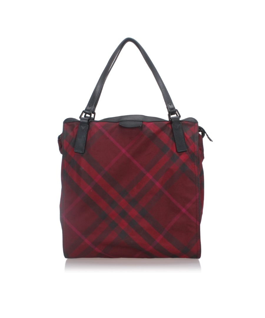 Image for Burberry Plaid Nylon Buckleigh Tote Bag Red