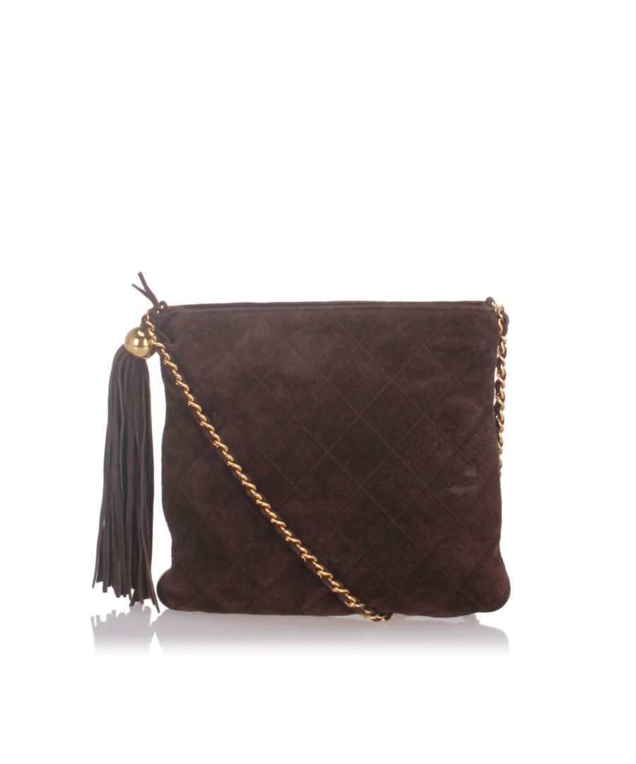 Image for Chanel Suede Leather Chain Crossbody Bag Brown