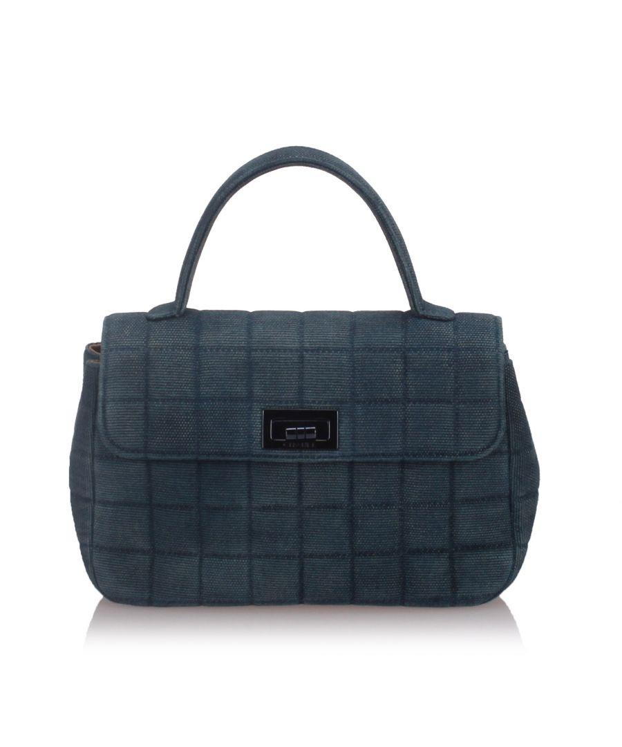 Image for Chanel Denim Choco Bar Handbag Blue