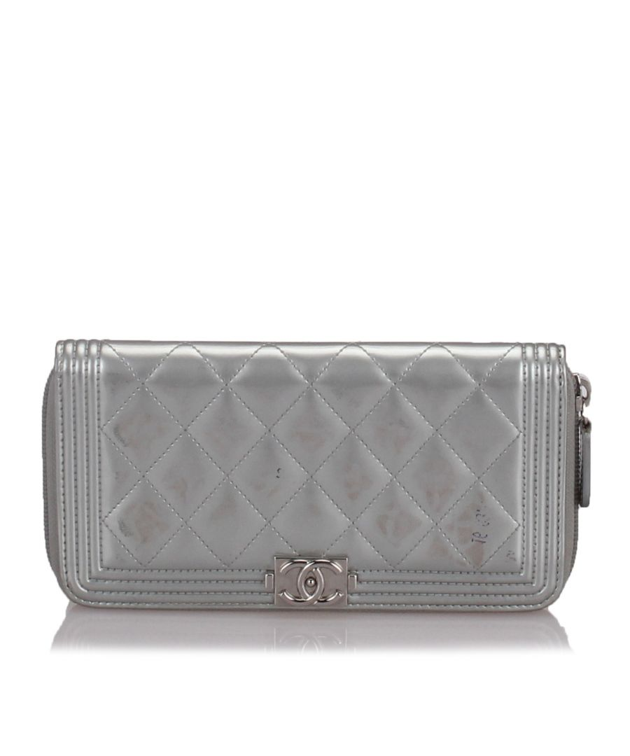 Image for Chanel Boy Long Flap Wallet Silver