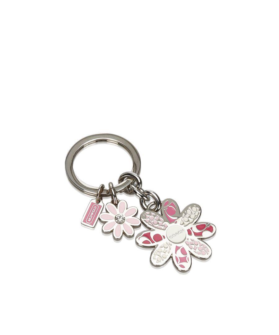 Image for Vintage Coach Metal Floral Key Ring Pink