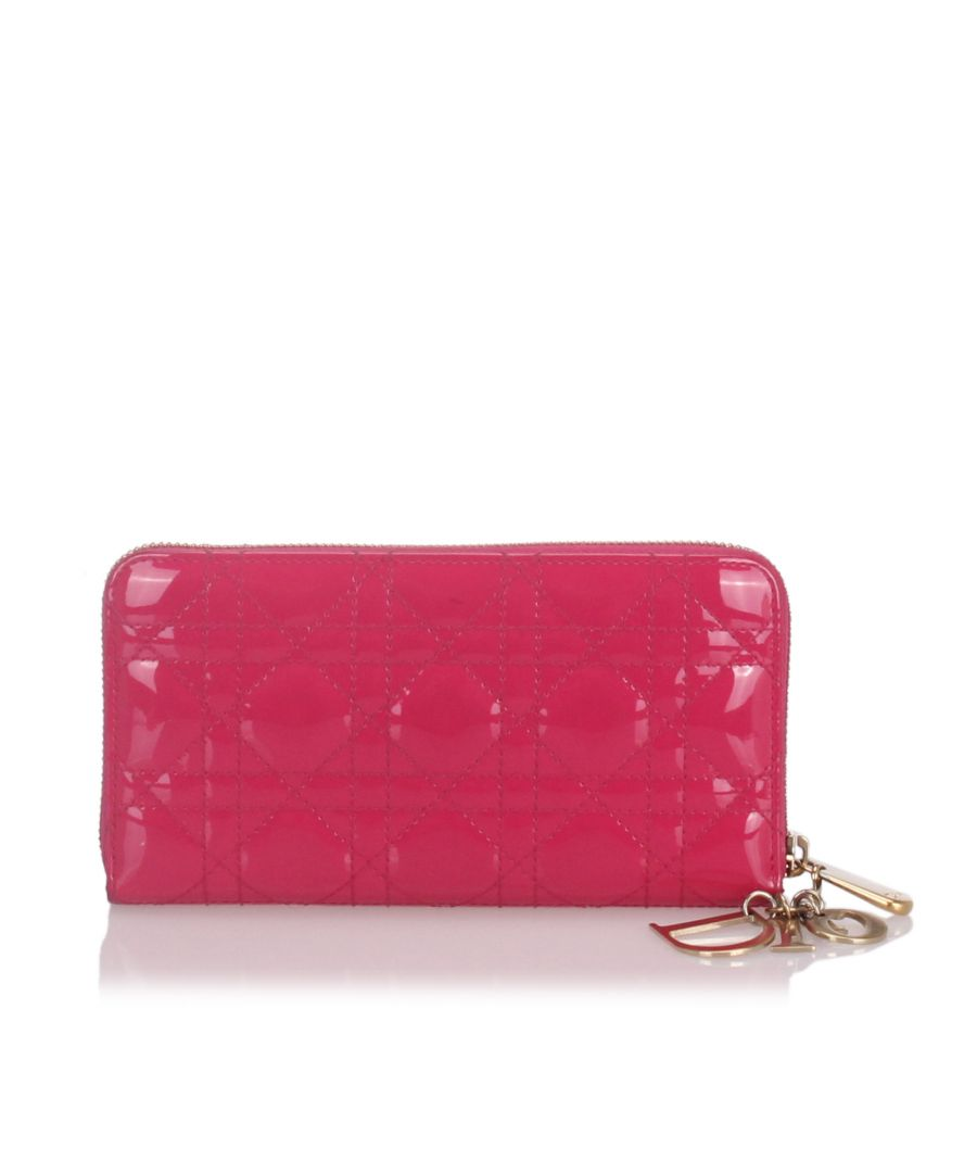 Image for Dior Cannage Patent Leather Wallet Pink